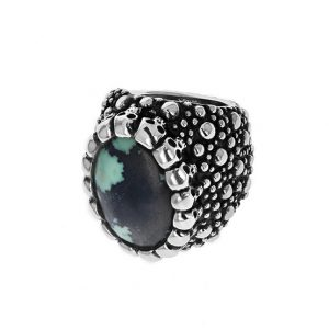 king_baby_ring_sterling_silver_spoted_tapered_shank_with_halo_of_skulls_and_spotted_turquoise_chaochon_1