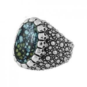 king_baby_ring_sterling_silver_spoted_tapered_shank_with_halo_of_skulls_and_spotted_turquoise_chaochon