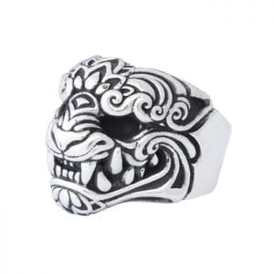 king_baby_ring_sterling_silver_band_with_oni_mask_face_and_polished_shank