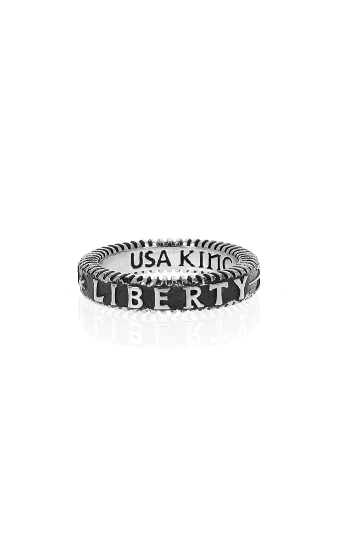 "USA king baby ring with words ""liberty"""