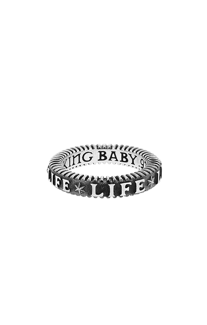 """USA king baby ring with words """"life"""""""