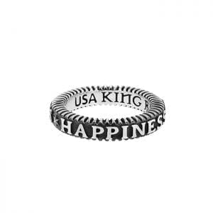 """USA king baby ring with words """"happiness"""""""