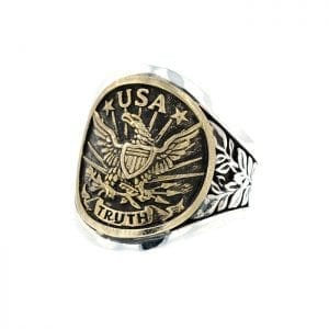 front angle view of USA eagle ring