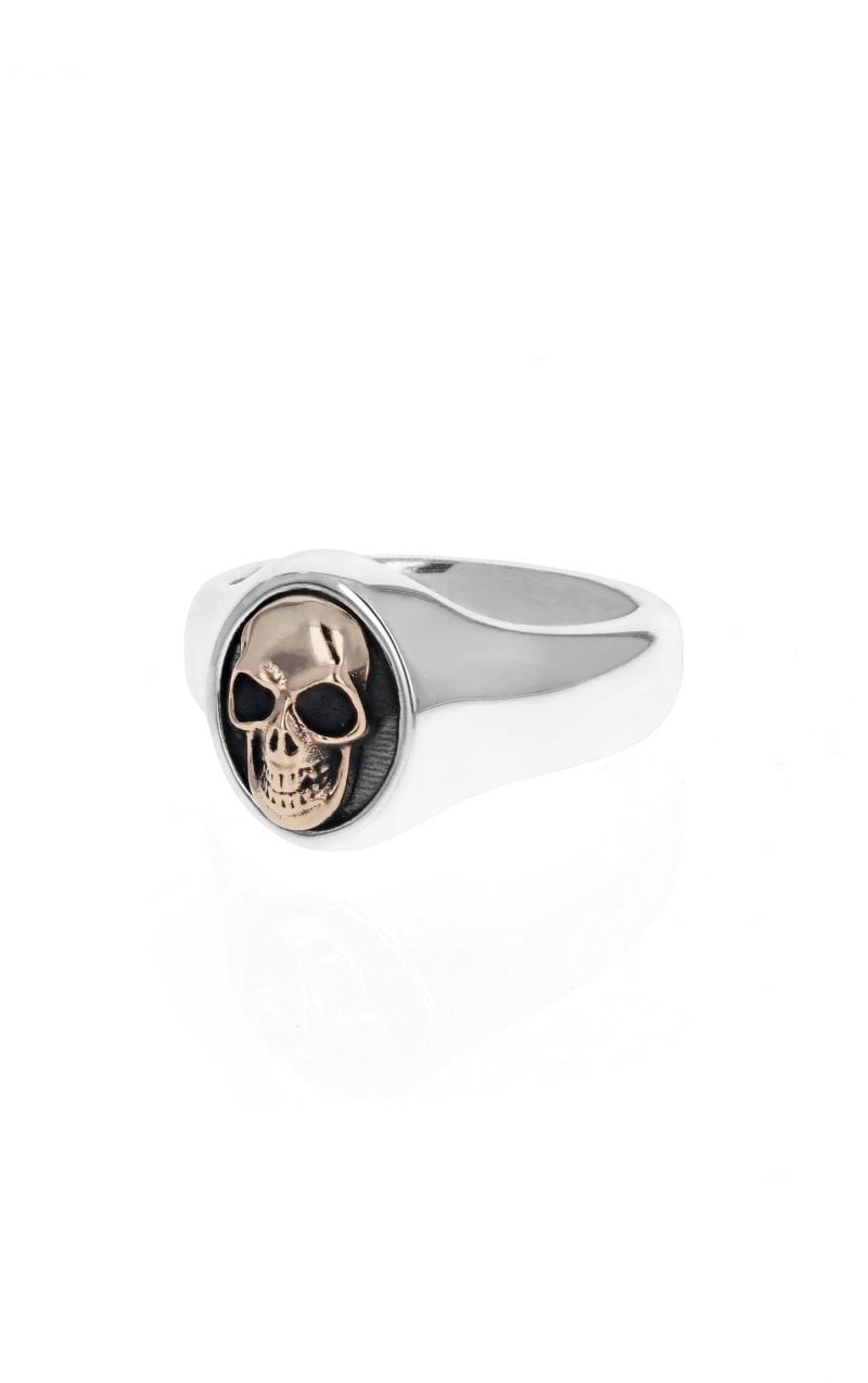 side angle view of silver mens signet ring with gold skull