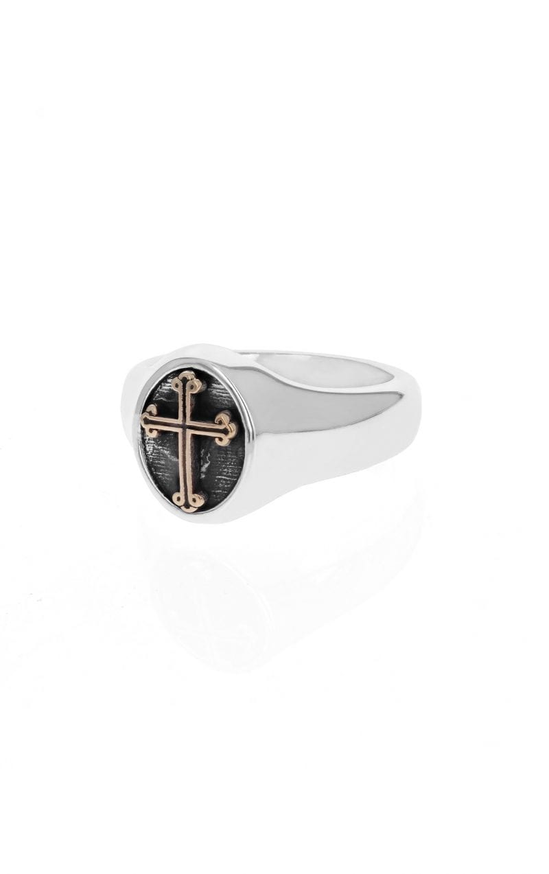 side angle view of silver mens signet ring with black cross in center