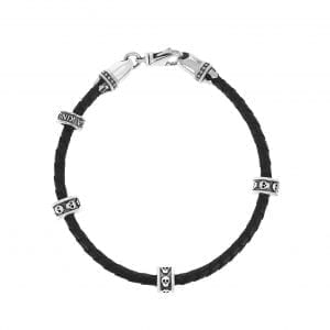 king_baby_bracelet_black_braided_leather_wrap_bracelet_with_mini_skull_charms