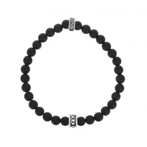 king_baby_bracelet_black_onyx_beaded_stretch_bracelet_with_sterling_silver_skull_ring_accent