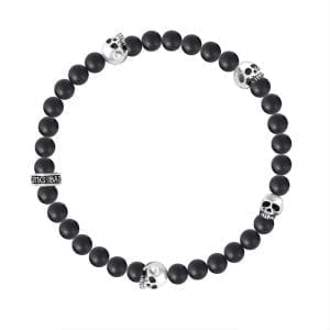 king_baby_bracelet_black_onyx_beaded_stretch_bracelet_with_four_sterling_silver_skull_stations