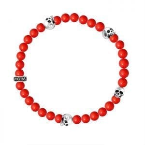 king_baby_bracelet_red_coral_beaded_stretch_bracelet_with_four_sterling_silver_skull_stations