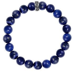 blue lapis beaded bracelet with kind baby silver ring logo