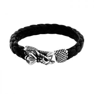 king_baby_bracelet_black_leather_braided_bracelet_with_sterling_silver_dragon_head_hook_clasp