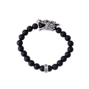 KING_BABY_bracelet_black_beaded_bracelet_with_sterling_silver_dragons_head_station