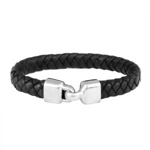 braided leather bracelet with silver hook clasp