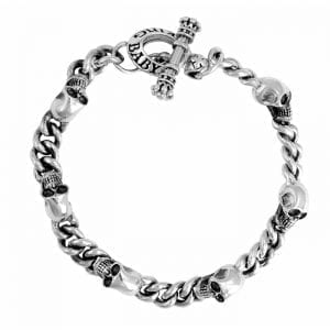king_baby_bracelet_sterling_silver_chain_bracelet_with_skull_stations_and_toggle_clasp