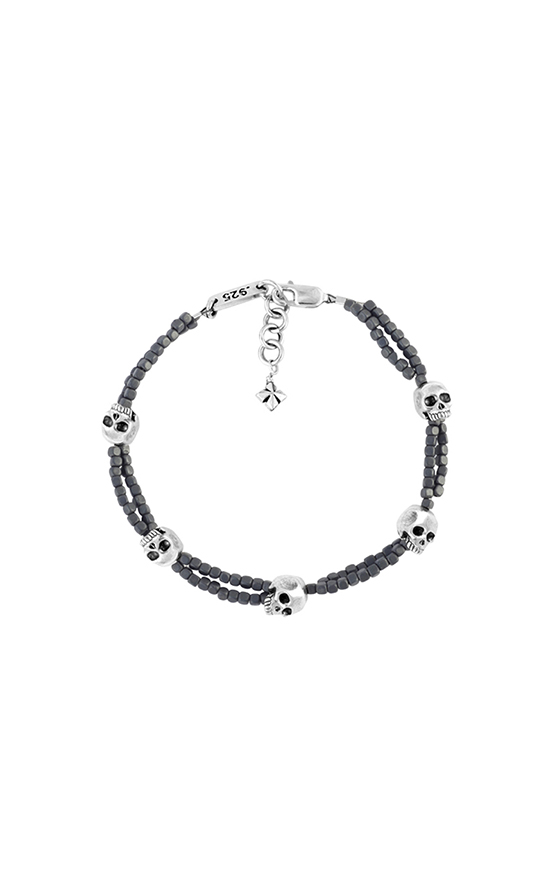 king_baby_bracelet_double_strand_grey_hematite_bracelet_with_5_sterling_silver_skull_accents