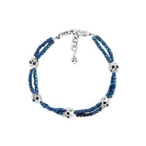 king_baby_bracelet_blue_hematite_double_strand_bracelet_with_five_sterling_silver_skull_accents