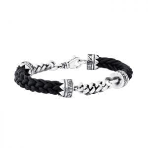 king_baby_bracelet_black_leather_lanyard_bracelet_with_curb_link_chains_accenting_the_face_and_clasp