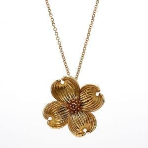 Bailey's Custom Dogwood Pendant Necklace in 14k Yellow Gold