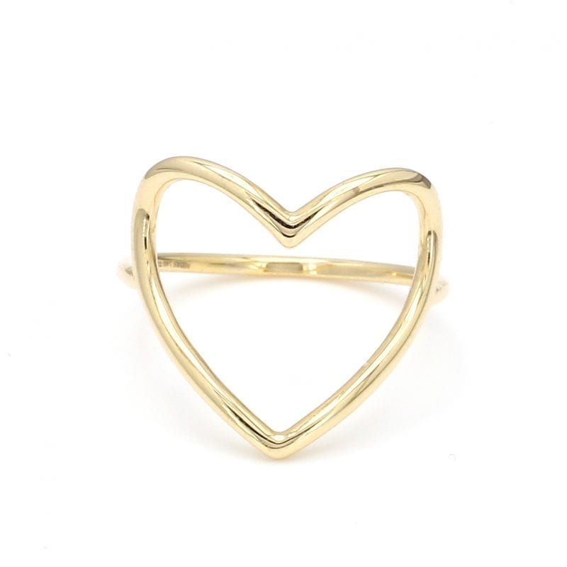 Open Heart Ring in 14k Yellow Gold