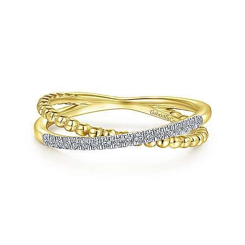 14k Diamond Crossover Ring