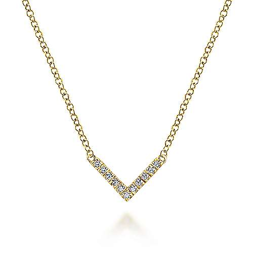 Diamond V Pendant Necklace in 14k Yellow Gold