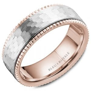 A Bleu Royale rose gold wedding band with a textured white gold center and milgrain detailing.