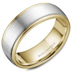 white and yellow gold wedding band ring