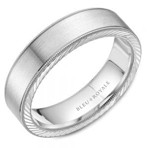 white gold wedding band with textured edges and milgrain
