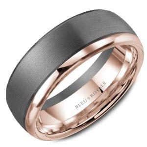 Grey and rose gold wedding band Ring