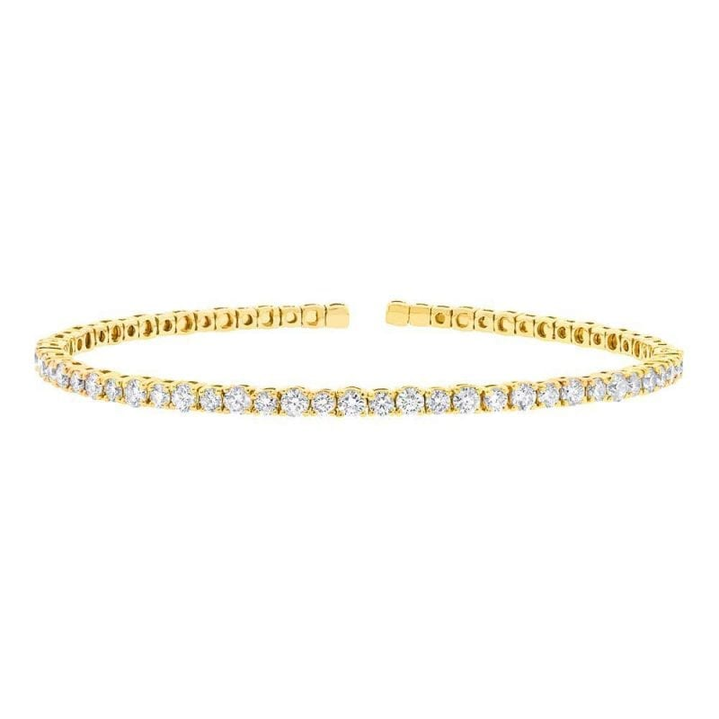 baileys club collection pave diamond flexible tennis bracelet in 14kt yellow gold