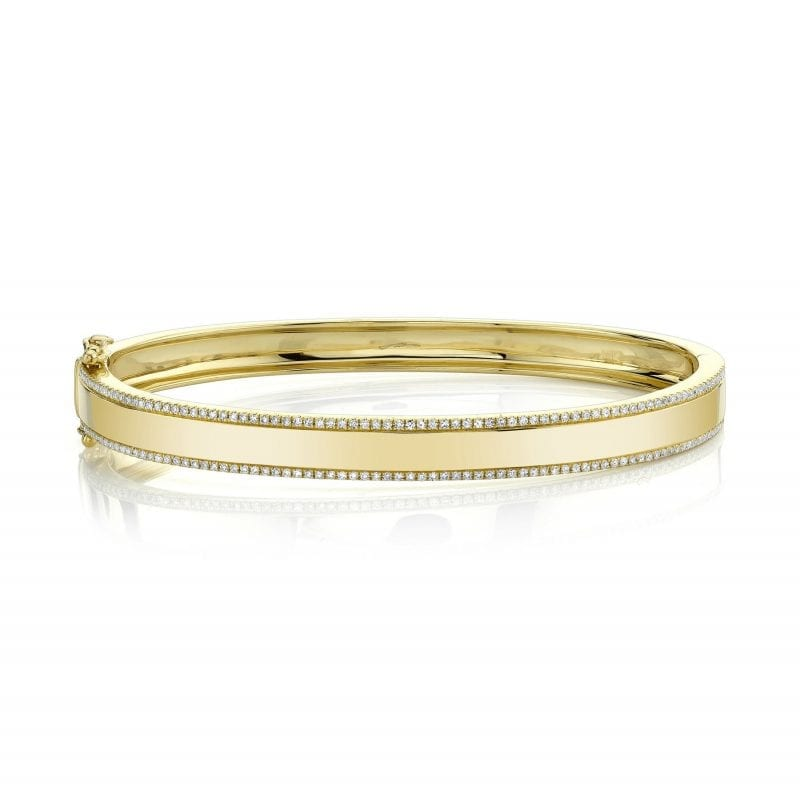 baileys club collection bracelet with pave diamond edges in 14kt yellow gold