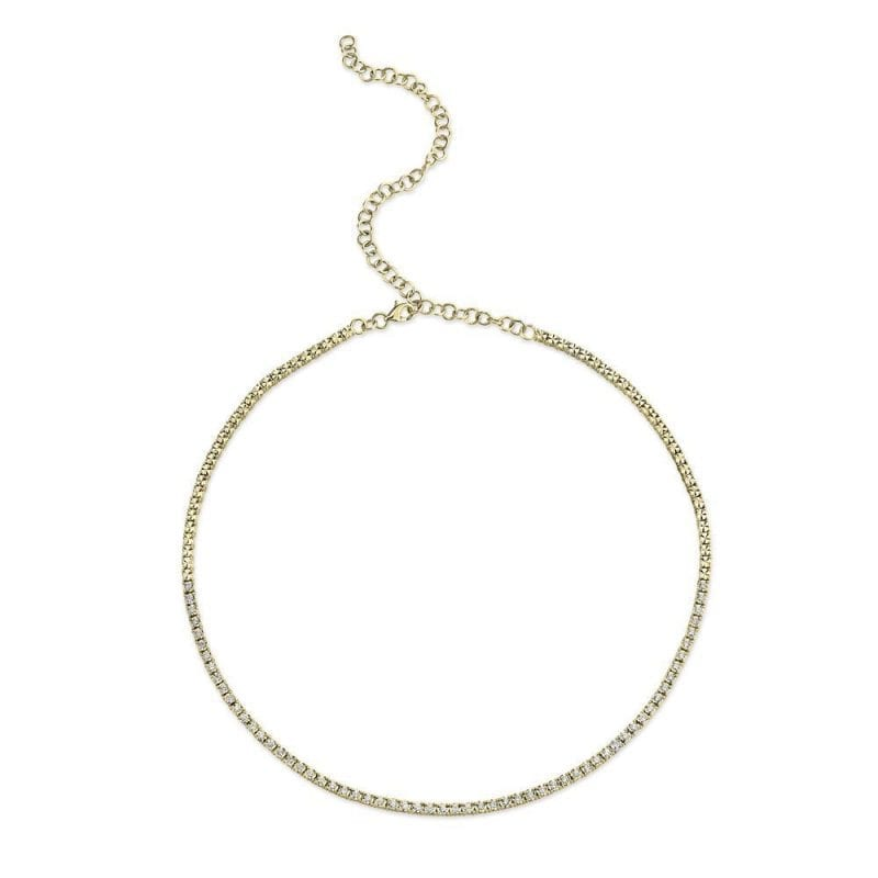 baileys club collection pave diamond tennis choker necklace 14kt yellow gold