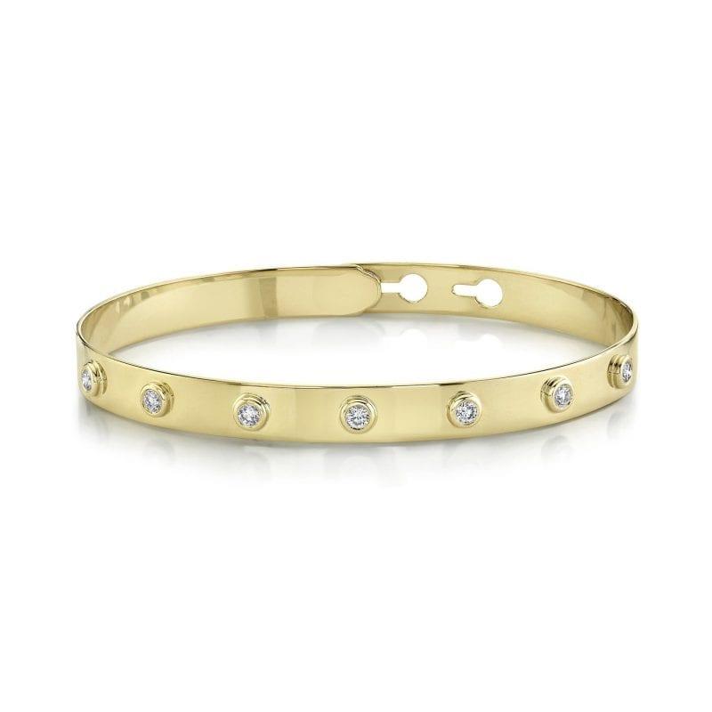baileys club collection bezel set diamond station bracelet in 14kt yellow gold