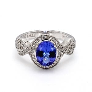 Tanzanite & Diamond Halo Ring in 14k White Gold