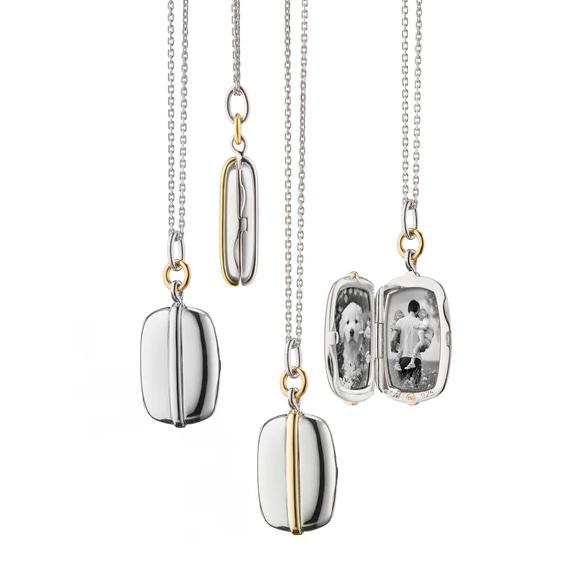 Monica Rich Kosann Slim Rectangle Two-Tone Locket Necklace