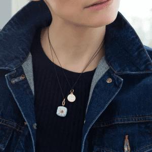 Monica Rich Kosann Blue Enamel Locket Necklace with Blue Sapphire