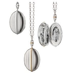 monica rich oval stripe locket shown three ways, back view, front view, and open view with black and white pictures of baby and dog
