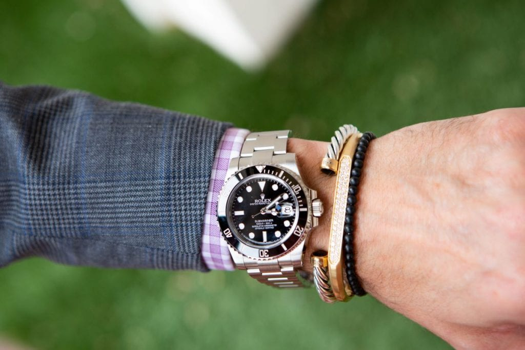40mm Black Rolex Submariner Styled with Silver, gold and black bracelets