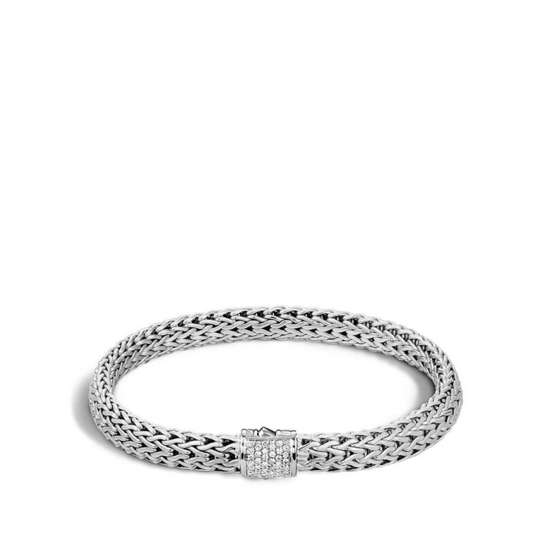 John Hardy Sterling Silver Small Classic Chain Bracelet with Pave Diamond Clasp