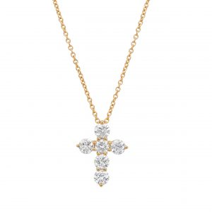 Club Collection diamond cross necklace in yellow gold