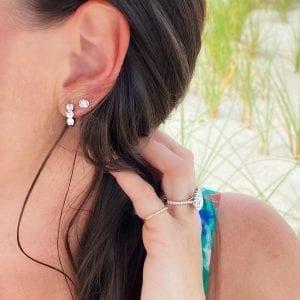 Bailey's Club Collection Three Diamond Huggie Hoop Earrings