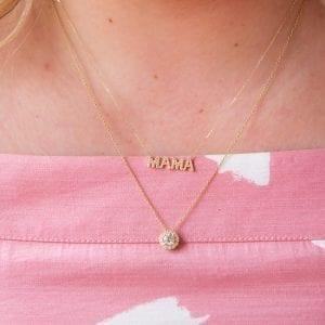 Pave Diamond MAMA Necklace