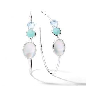 Ippolita 3-Stone #3 Hoop Earrings in Cascata