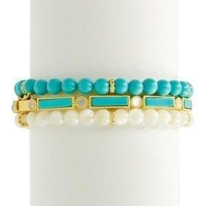 Freida Rothman Baguette Bar Hinge Bracelet in Turquoise