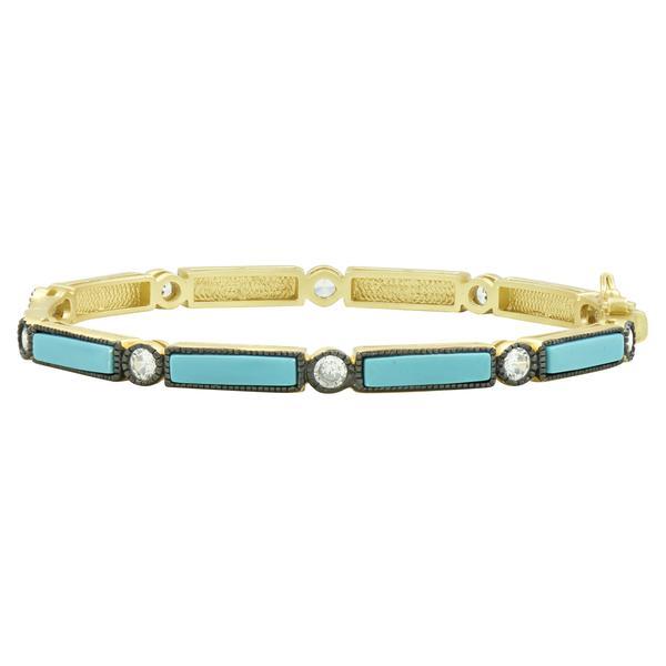 Freida Rothman Baguette Bar Hinge Bracelet in Turquoise with Black Rhodium