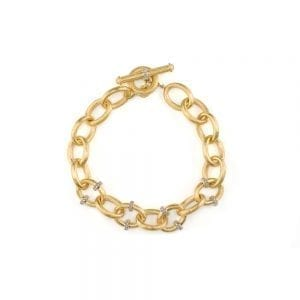 Jude Frances Lisse Pave Rondell Loopy Chain Toggle Bracelet