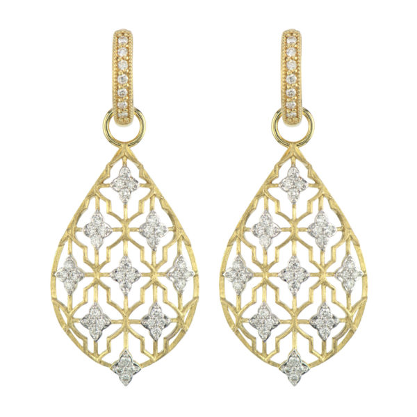 Jude Frances Moroccan Large Diamond Gold Shield Earring Charm