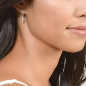 Jude Frances Provence Champagne Tiny Cross Earring Charms