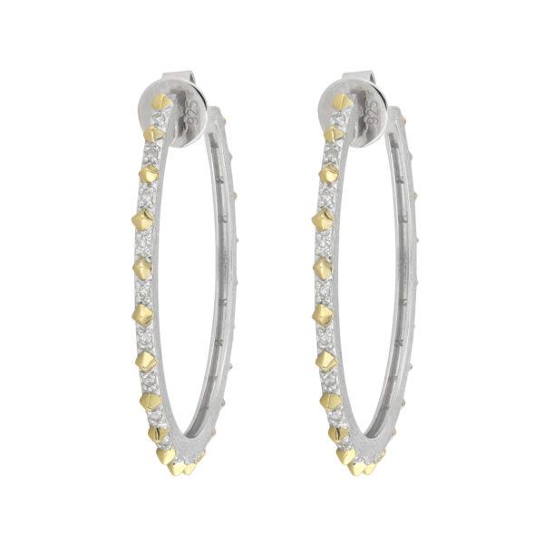 Jude Frances Narrow Gold Pyramid Pave Hoop Earrings