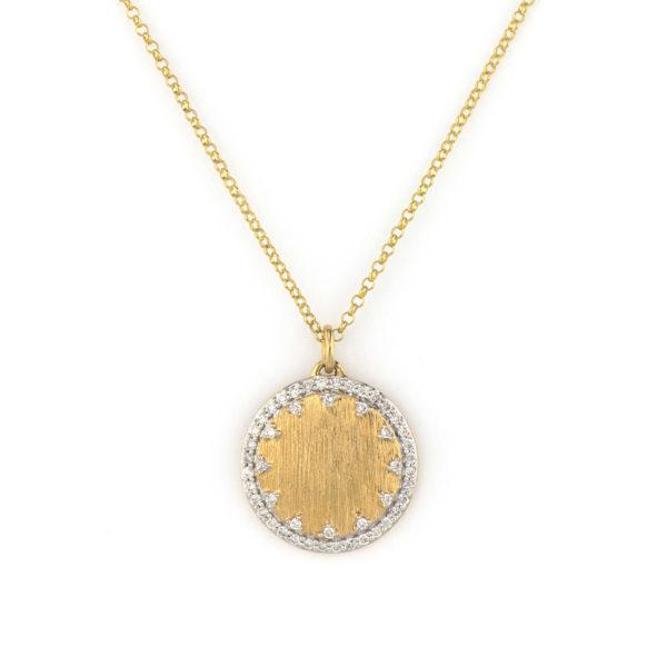Jude Frances Small Pave Disc Engravable Pendant Necklace